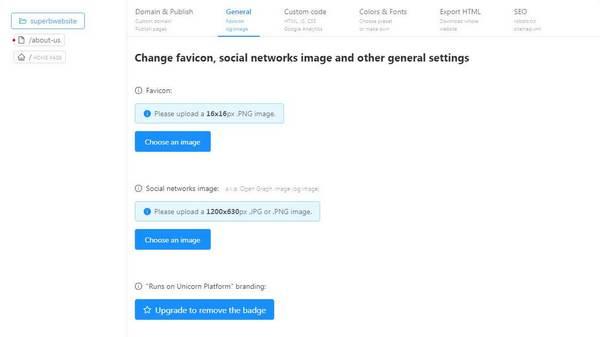 Unicorn Platform website setting