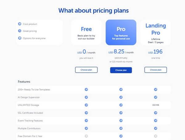 Weblium pricing