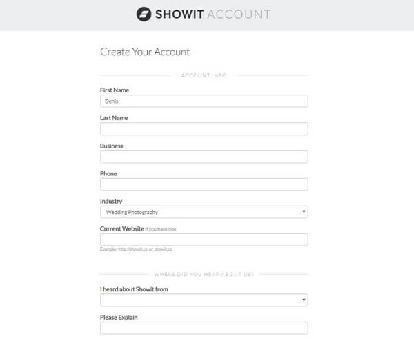 Showit Create account