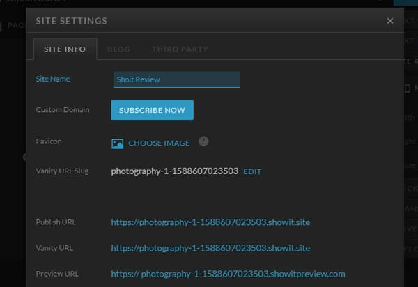 Showit site setting