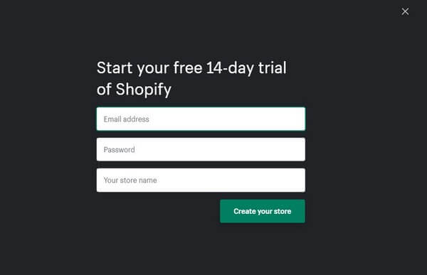 Shopify registration