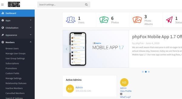 phpFox Dashboard