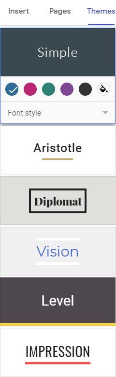Google Sites template