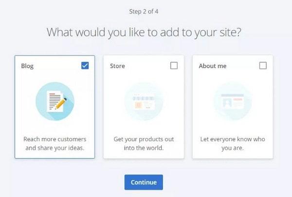 Bluehost Create a Website step 2