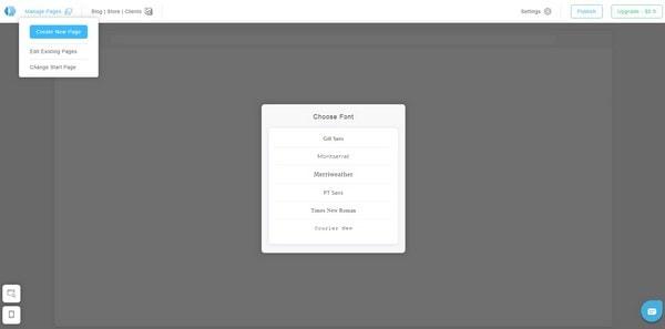 Portfoliobox choose font