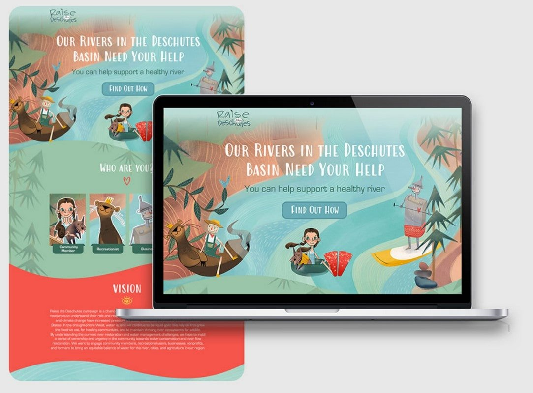 Page design for the river protection partnership Raise the Deschutes