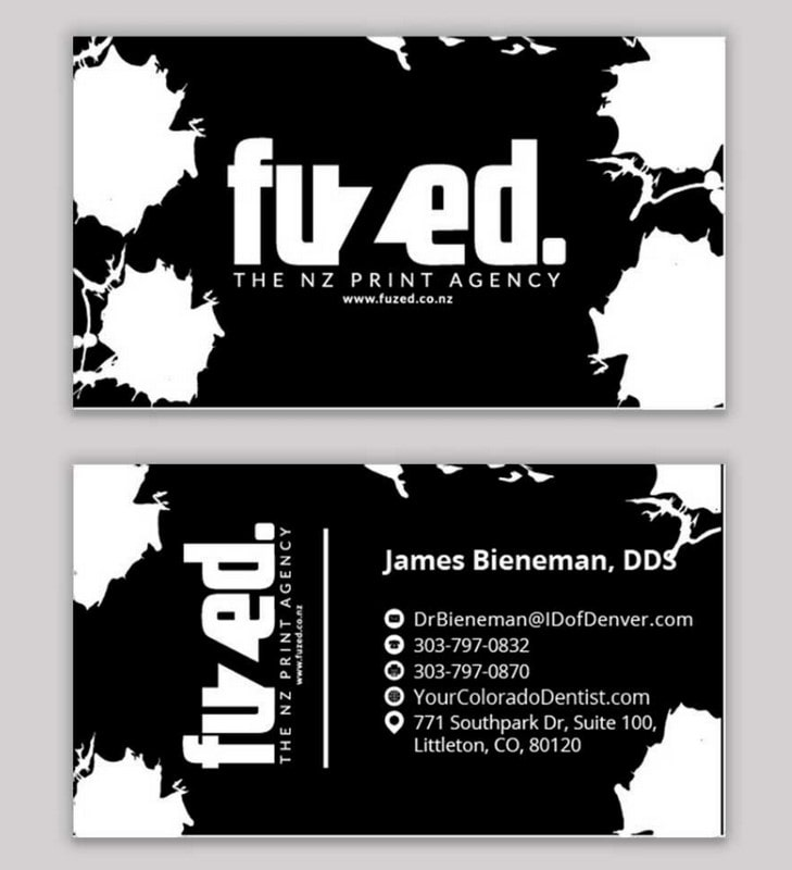 A business card for the Fuzed business agency