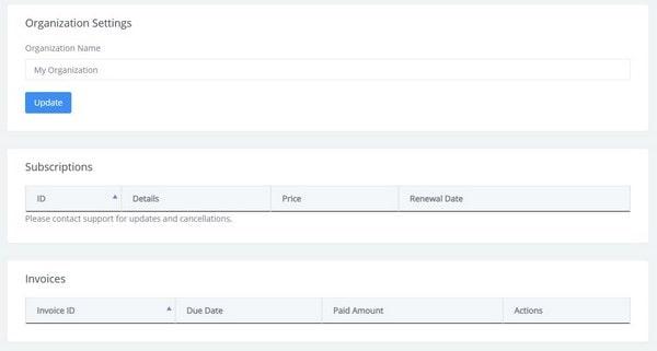 Nestify organization settings