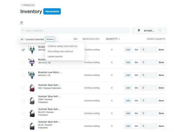 ShopBase inventory