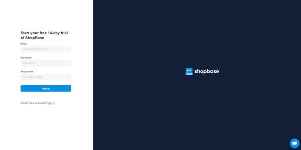 ShopBase start registration page