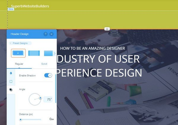 Wix header design