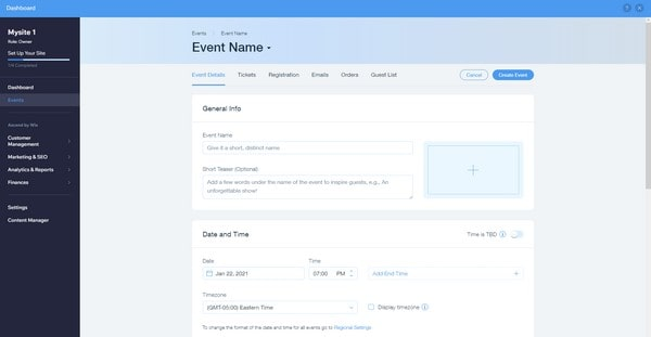 wix events dashboard