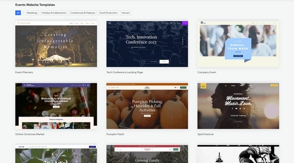 wix events templates