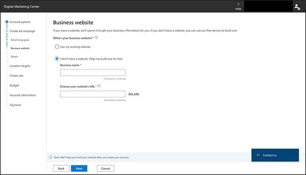 Microsoft Website Builder Signin