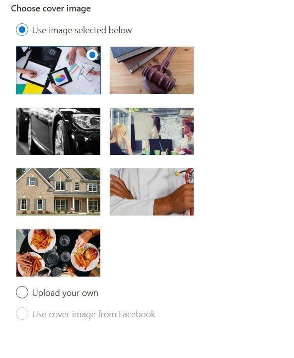 Microsoft Website Builder choose cover image