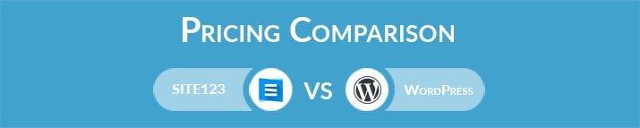 SITE123 vs WordPress: General Pricing Comparison