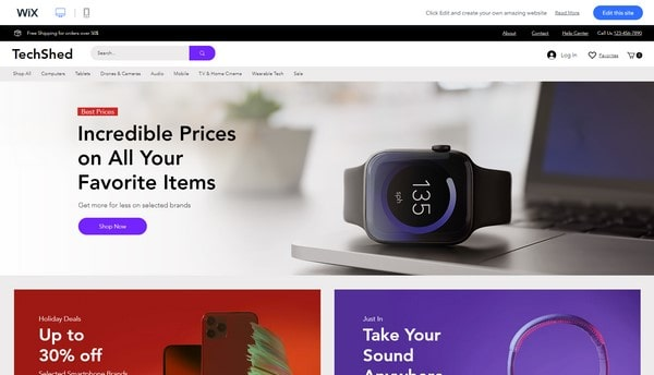 wix store template
