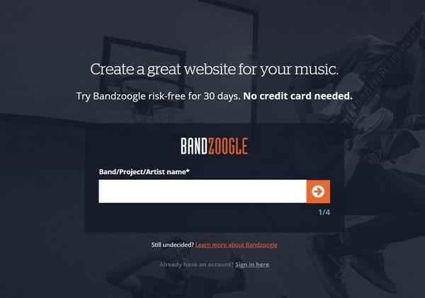 Bandzoogle create a accaunt