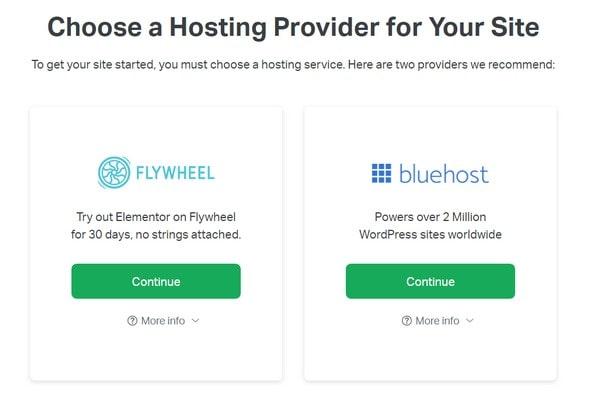 elementor choose a hosting provider