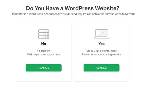elementor have a wordpress site