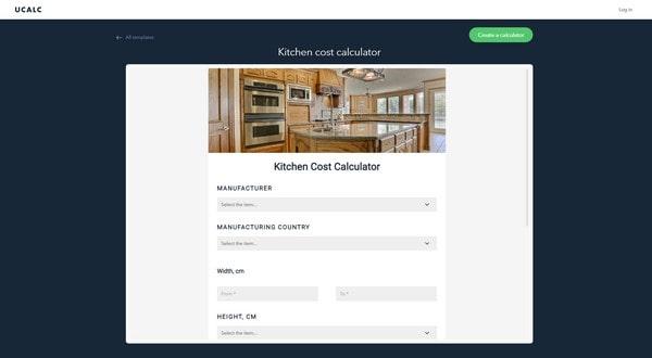 Kitchen Cost Calculator – a furniture pricing calc