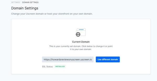 uscreen domain setting