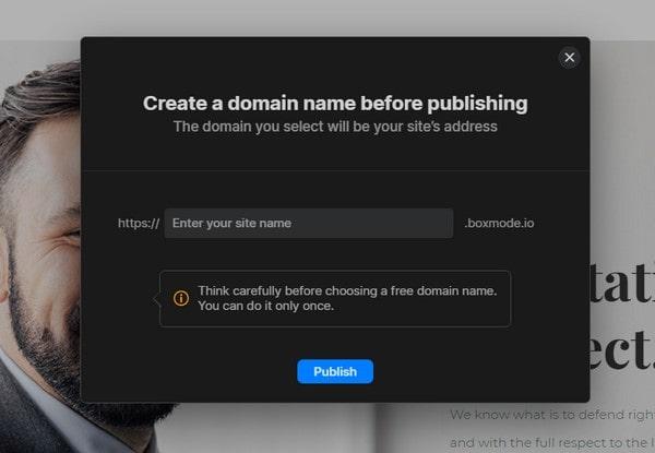 boxmode create a domain name