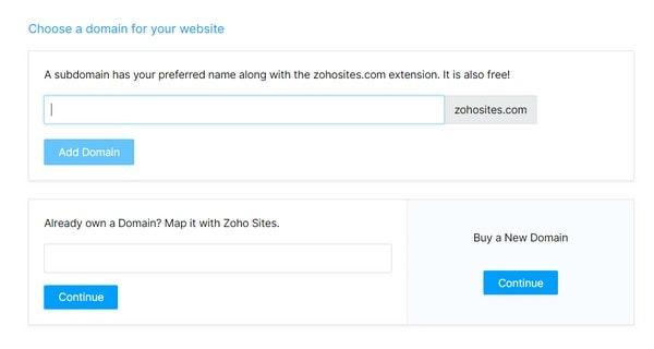 zoho choose domain name