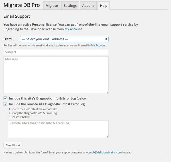 WP Migrate DB Support
