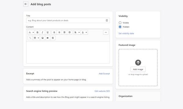 shopify add a blog post