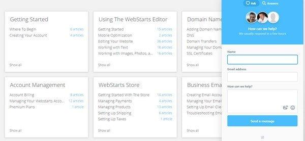 webstarts support