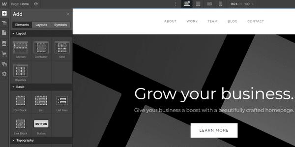 Webflow Редактирование сайта