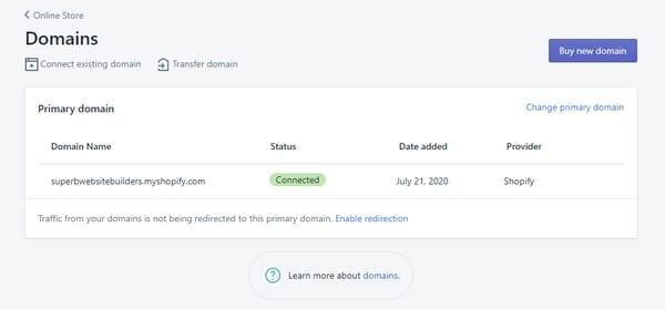 shopify подключение домена