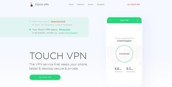 Touch VPN - главная страница