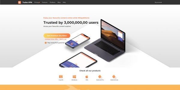 Turbo VPN - главная страница