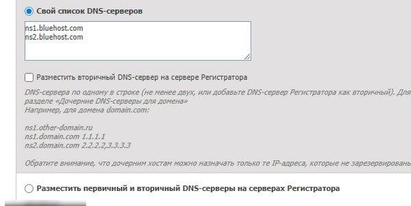 Список DNS-серверов Bluehost