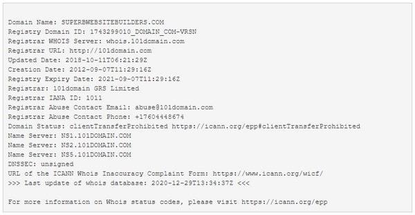 Команда whois для домена